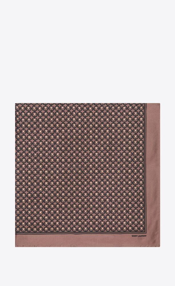 retro cube square scarf in silk twill