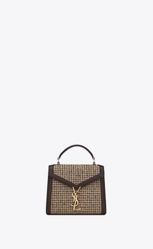 cassandra mini top handle bag in tweed pied de poule