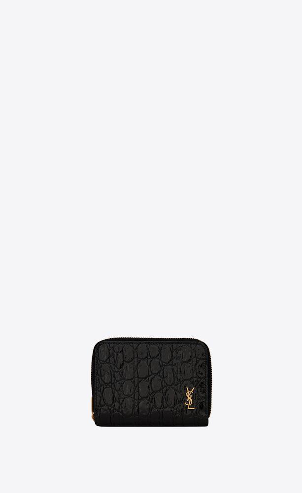 portafogli tiny monogram compatto con zip in pelle di coccodrillo goffrata