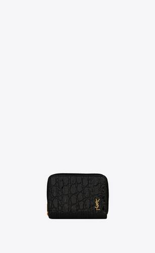 tiny monogram compact zip wallet in crocodile-embossed leather