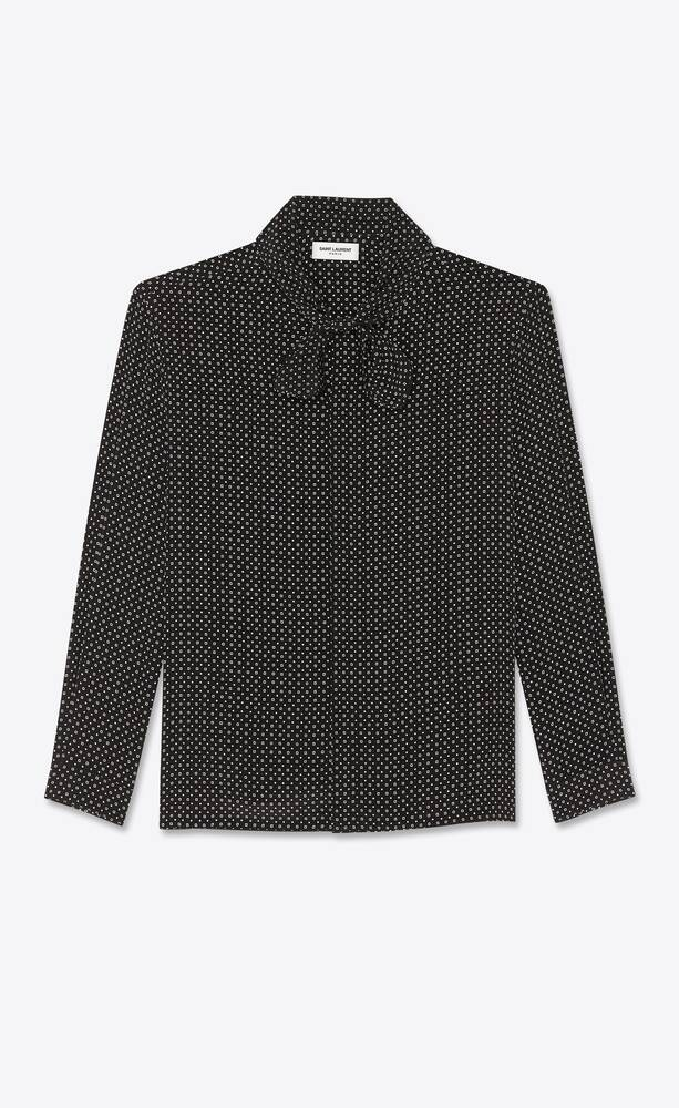lavallière-neck shirt in geometric dotted silk crepe de chine