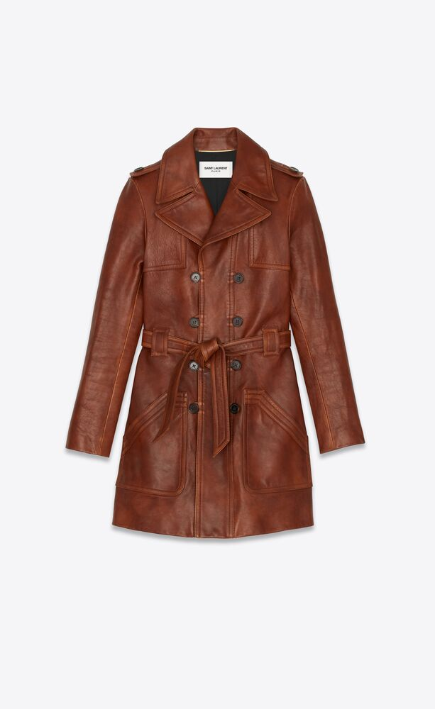 double-breasted coat in leather