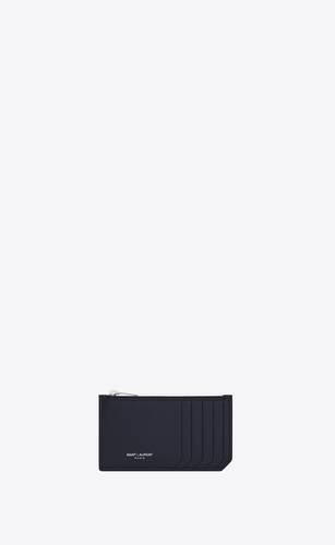fragments zipped card case in grain de poudre embossed leather