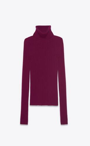 ribbed turtleneck sweater in cashmere saint laurent