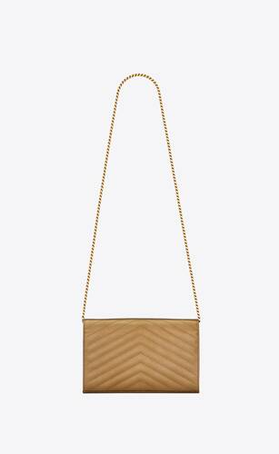 monogramme chain wallet en cuir irisé embossé grain de poudre