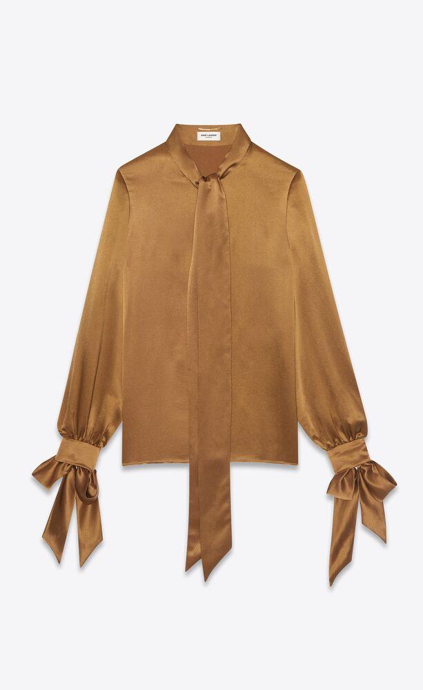 lavallière-neck blouse in silk satin crepe