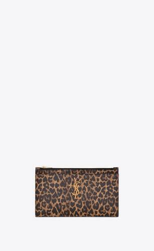 porta banconote monogram in pelle stampa leopardo a forma di cuore