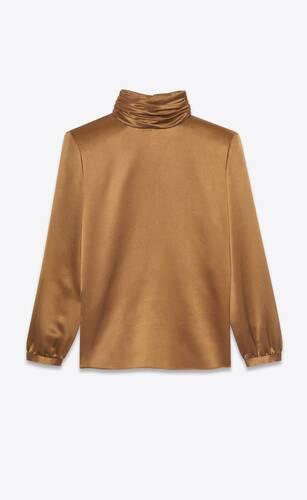 blusa de cuello vuelto de crepé y satén de seda