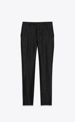 tailored pants in wool and silk floral jacquard