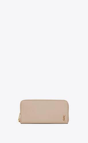 tiny monogram portefeuille zippé en cuir grainé