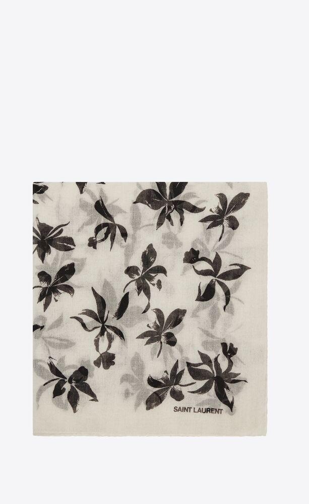 carré en étamine de laine à motif orchidées sauvages