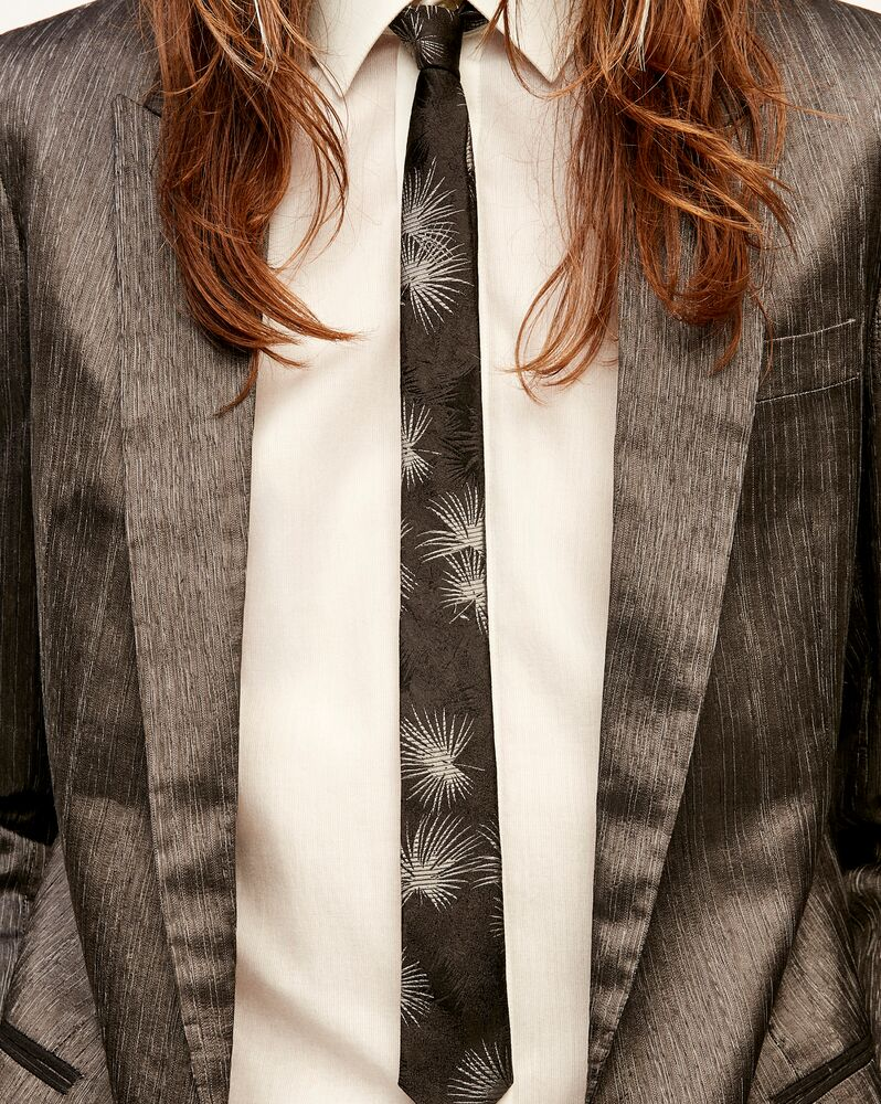 narrow tie in silk jungle jacquard