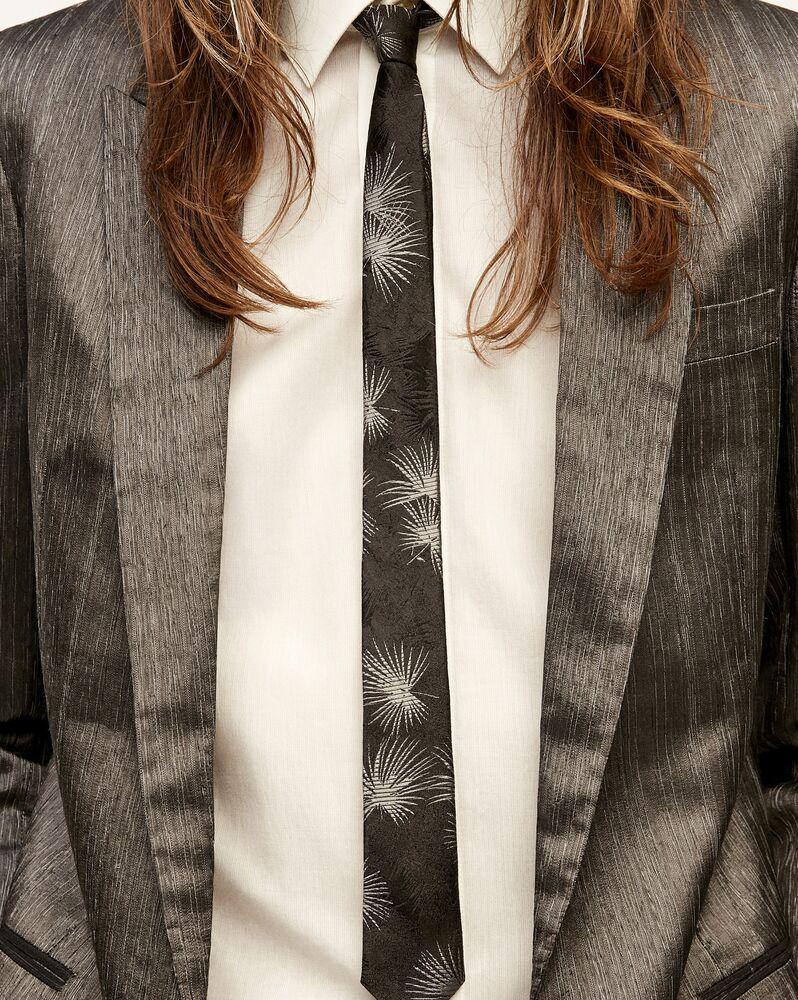 narrow tie in silk jungle jacquard