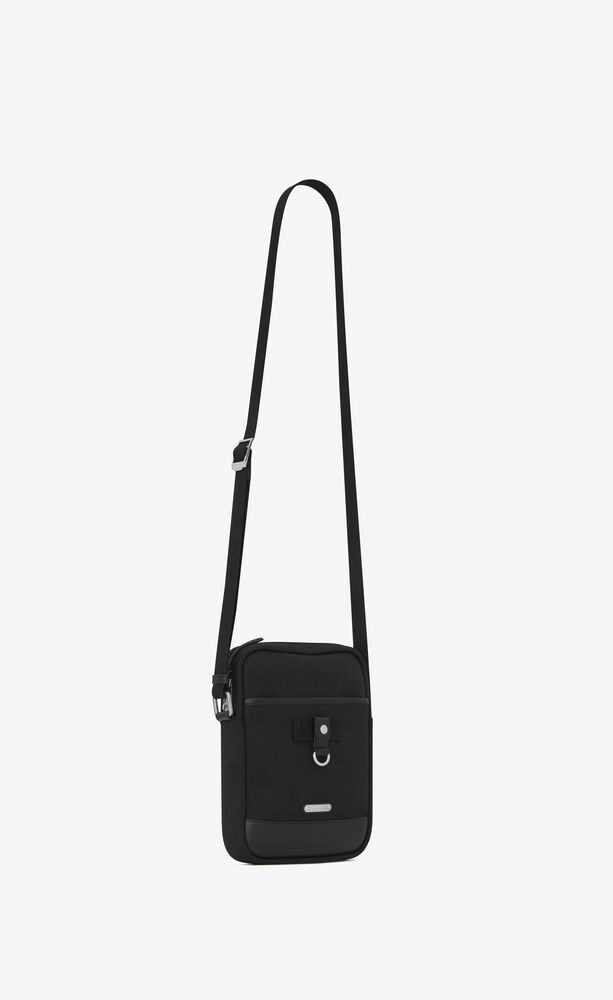 rivington race pouch in nylon canvas and leather