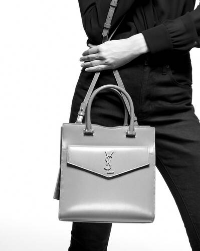 uptown small tote in shiny crocodile-embossed leather