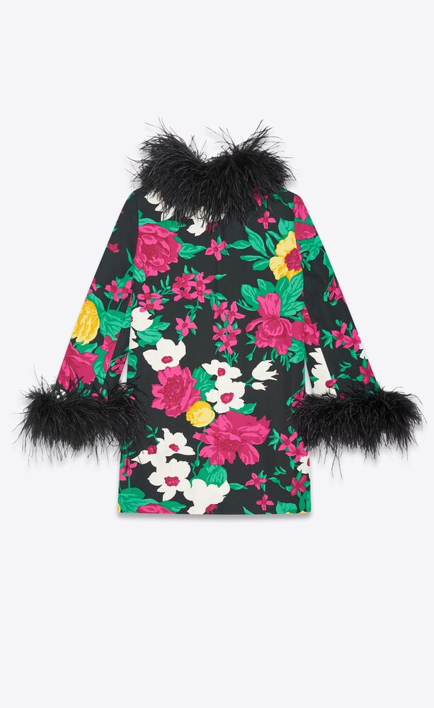 floral mini dress in cotton faille and ostrich feathers