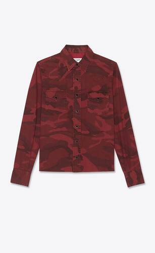 classic western shirt in red camo-print denim