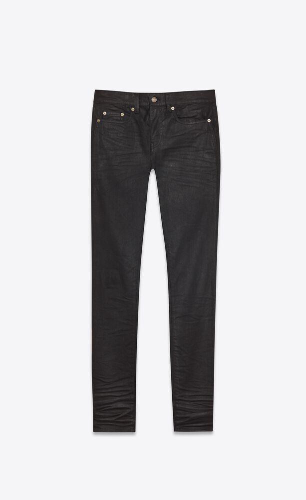 skinny-fit jeans in coated black denim