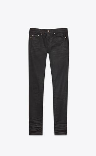 skinny-fit jeans in coated black denim
