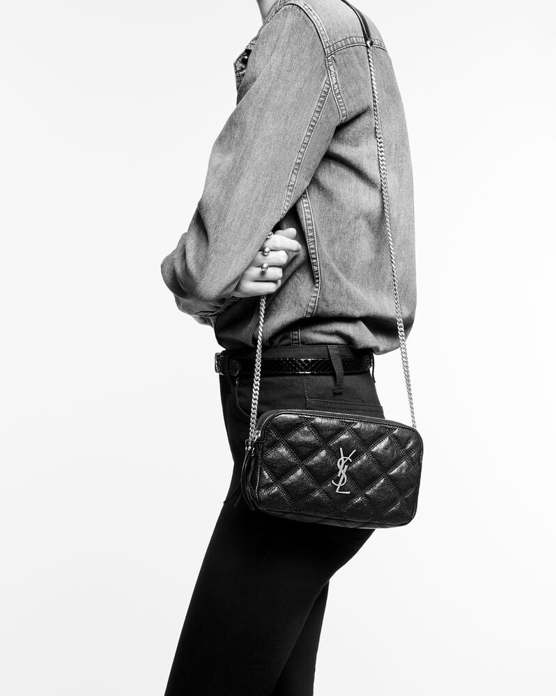 becky double-zip pouch in quilted lambskin