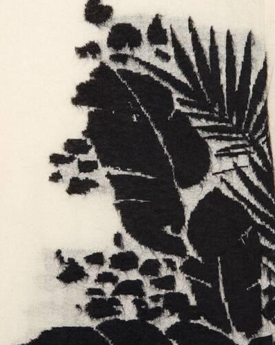 suéter semitransparente de jacquard con motivo tropical
