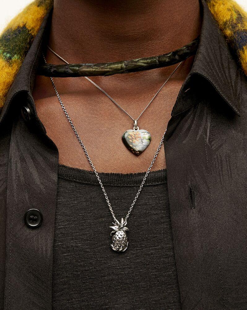 landscape heart pendant necklace in metal