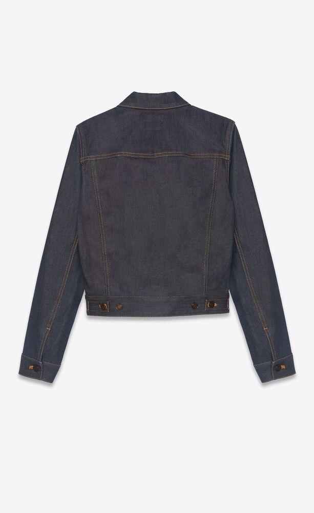 classic jacket in indigo raw denim