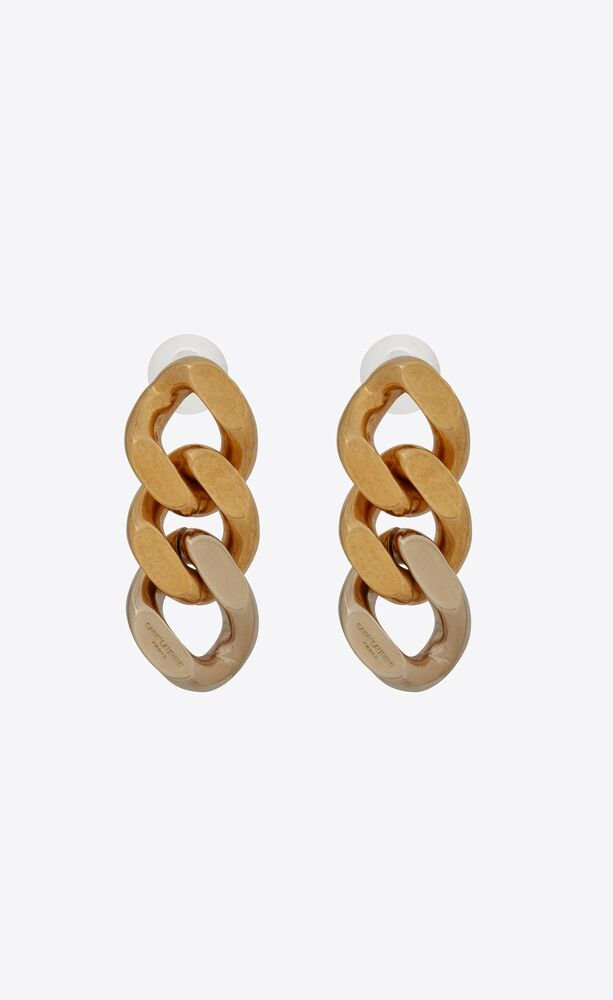 three curb chain links earrings in metal