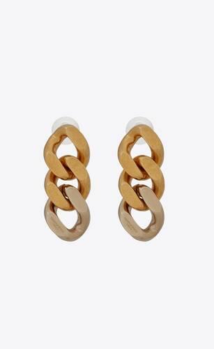 orecchini con catena barbazzale a tre maglie in metallo