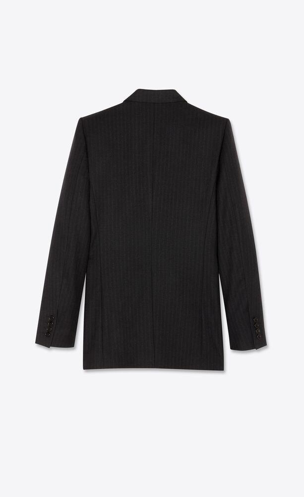 veste oversize à double boutonnage en sergé à fines rayures