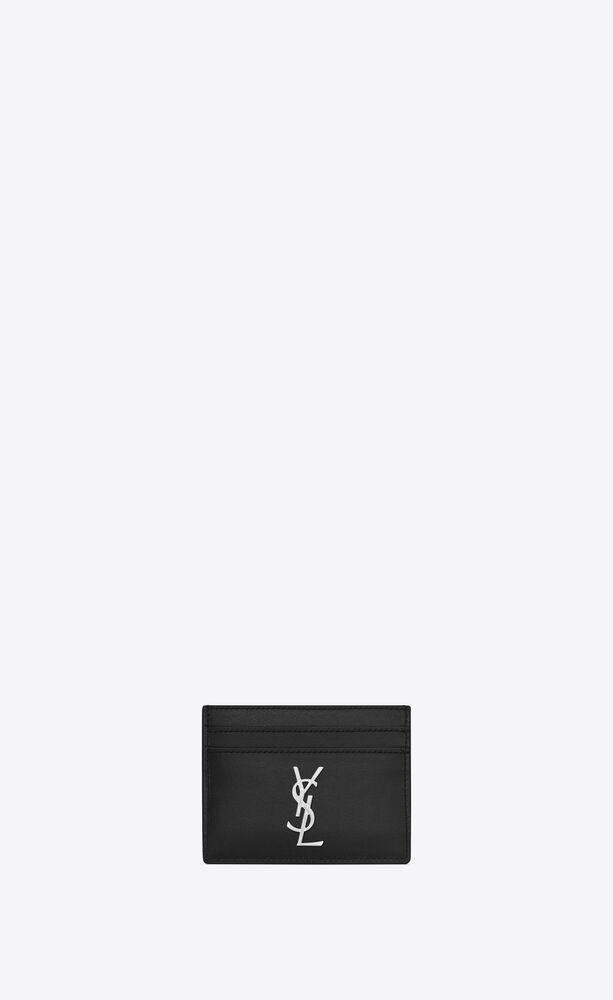 monogram kreditkartenetui aus schwarzem leder