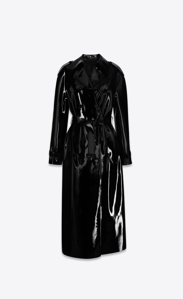 long trench coat in latex