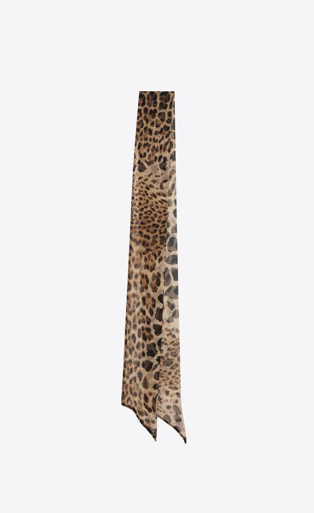 lange lavallière aus seidenchiffon mit leopardentupfen
