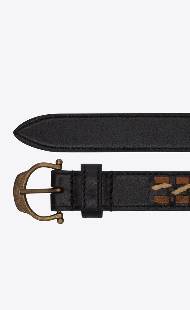 horseshoe buckle belt in woven leather, suede and rope