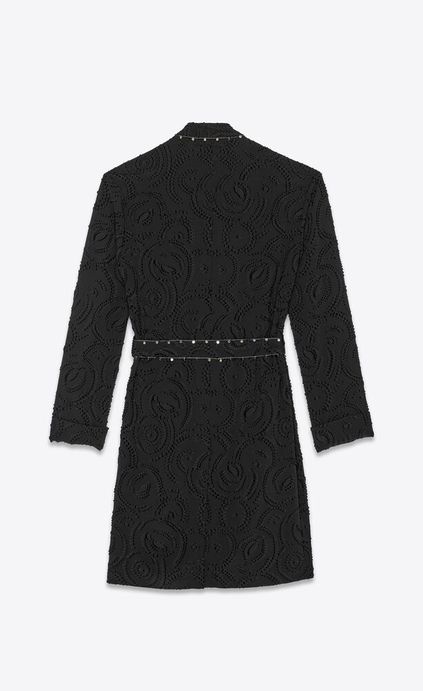 jacquard robe with charm trims