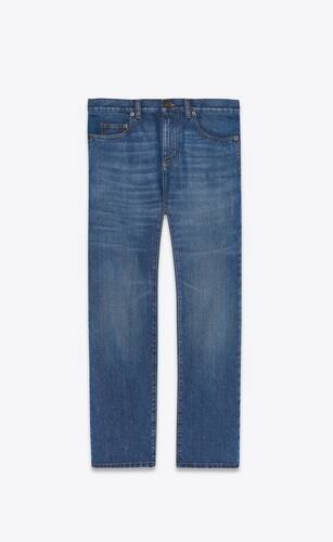 authentic straight jeans in blue ink wash denim