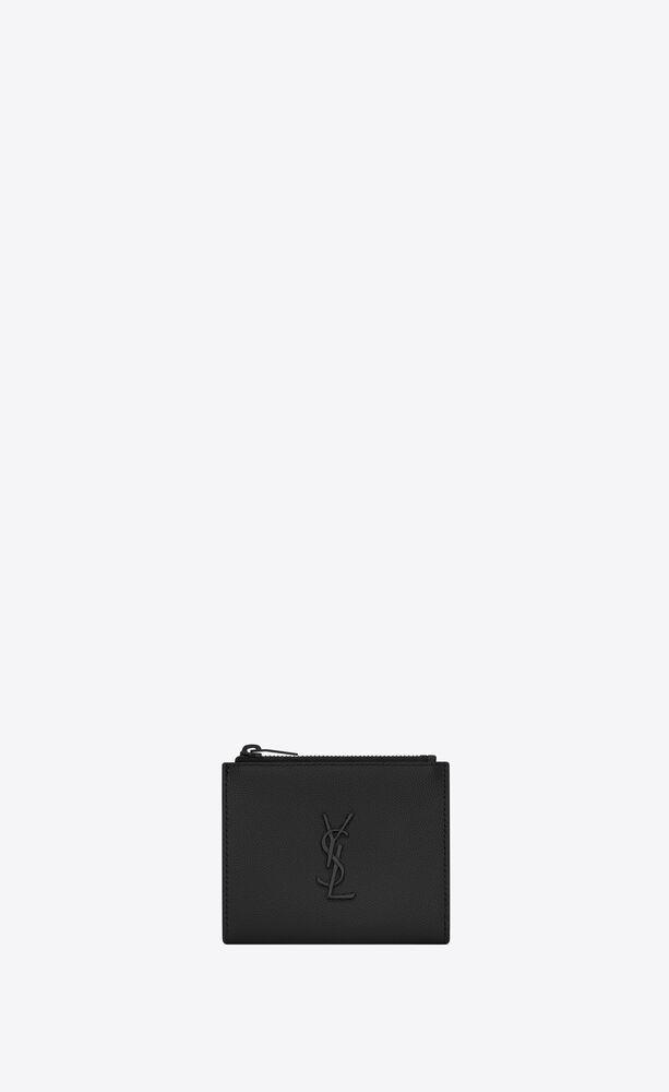 monogram zippered card case in grain de poudre embossed leather