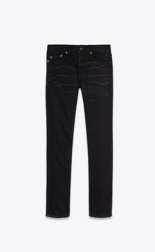 skinny-fit jeans in silver-coated black stretch denim