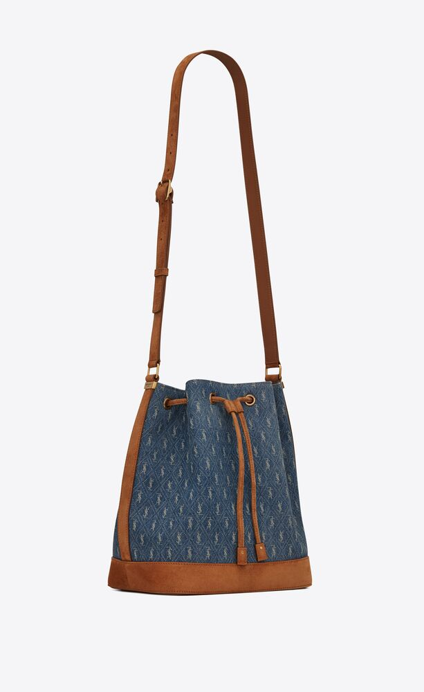 le monogramme bucket bag in denim and suede