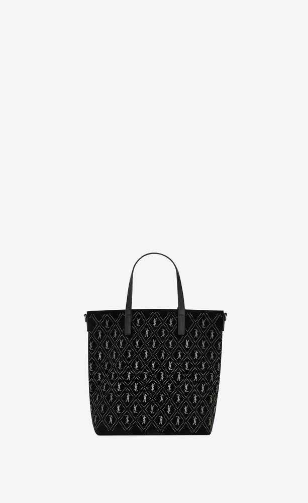 monogram saint laurent n/s toy shopping bag in studded suede