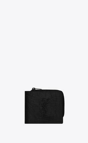 monogram east/west zip wallet in crocodile-embossed leather