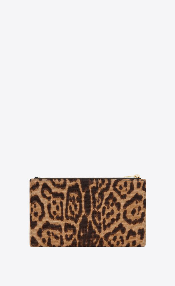 monogram bill pouch in leopard-print canvas and smooth leather