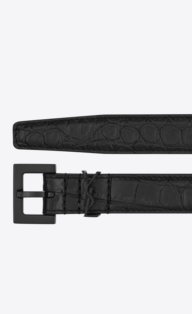 monogram belt with square buckle in crocodile-embossed matte leather