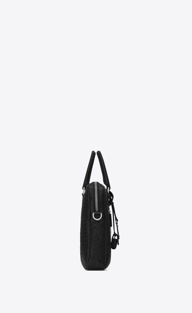 sac de jour briefcase in crocodile embossed leather