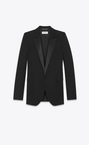 veste tube de smoking en grain de poudre saint laurent