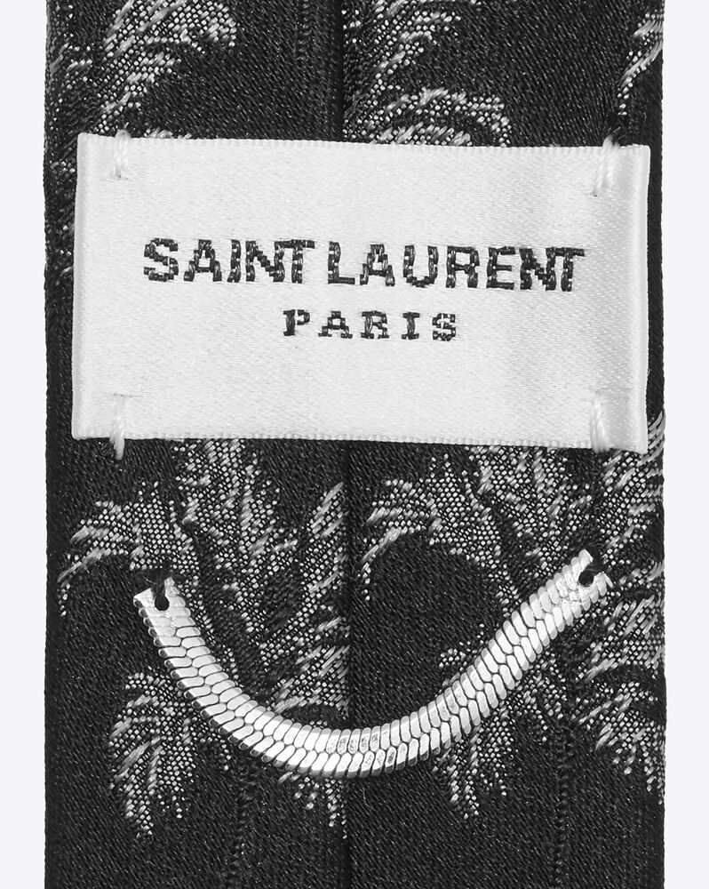 narrow tie in lamé silk palm jacquard