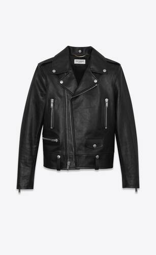motorcycle jacket in shiny vintage leather