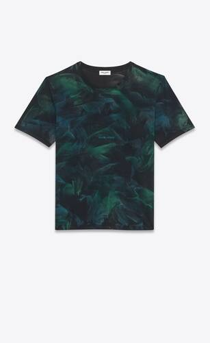 t-shirt logo saint laurent tie-dye