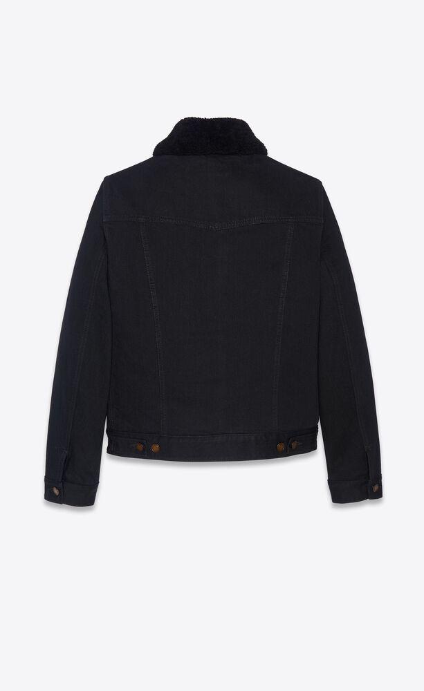 jacket with shearling in worn black denim