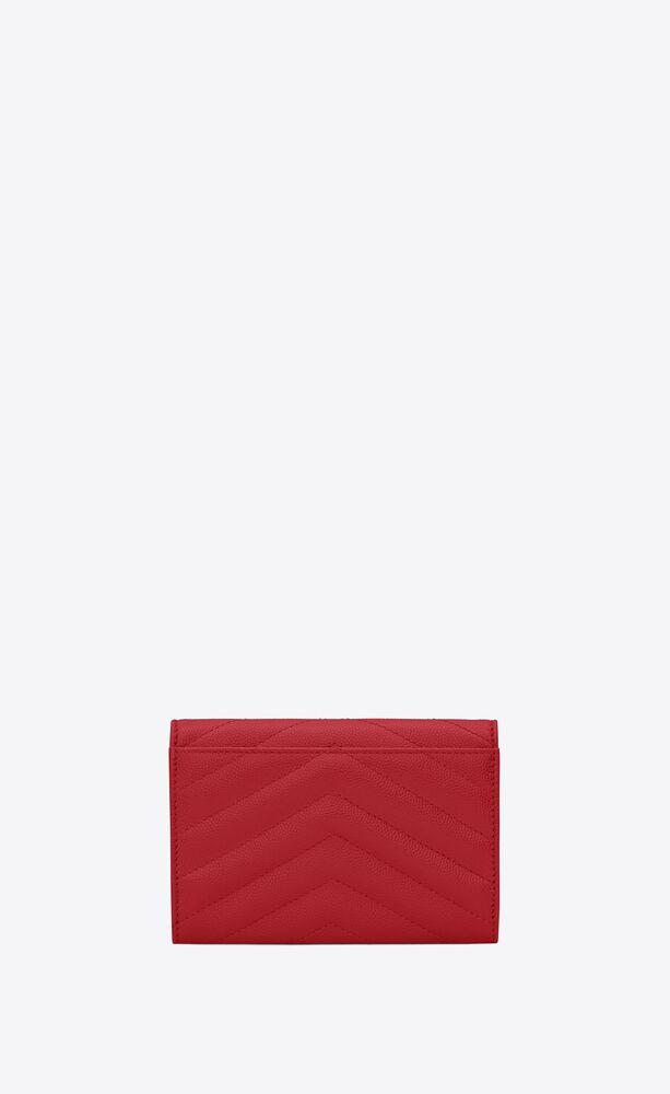 kleines monogramme portemonnaie mit überschlag aus leder mit grain-de-poudre-struktur